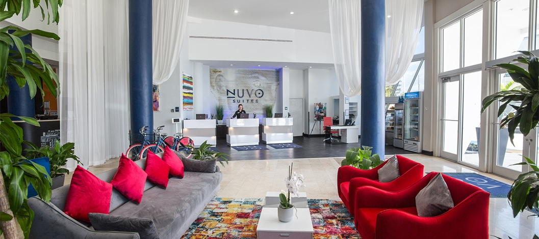 Seating in the front lobby of Nuvo Suites