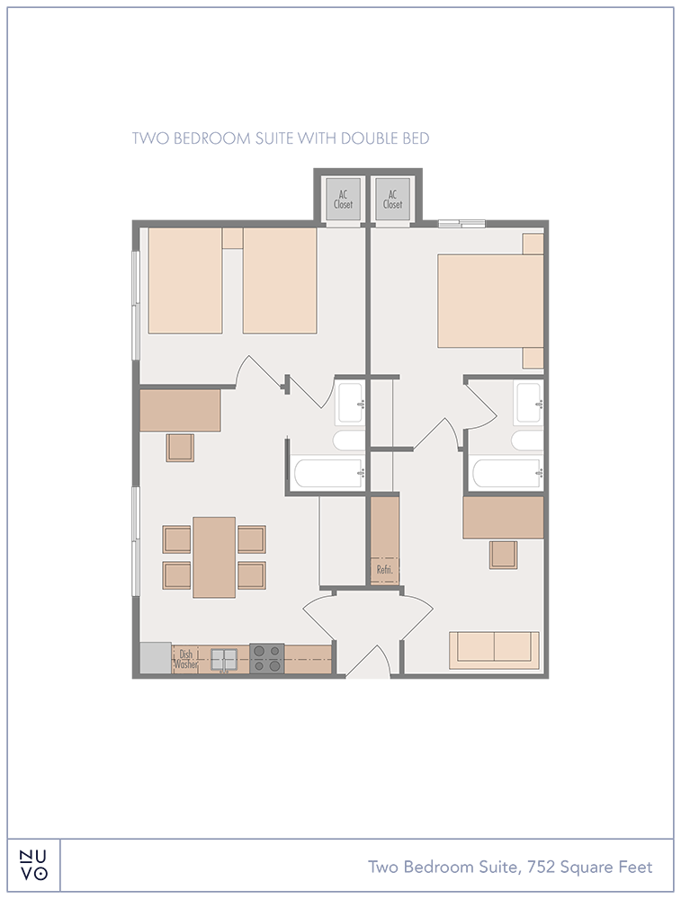 Two-Bedroom Suite with Double Bed floorplan