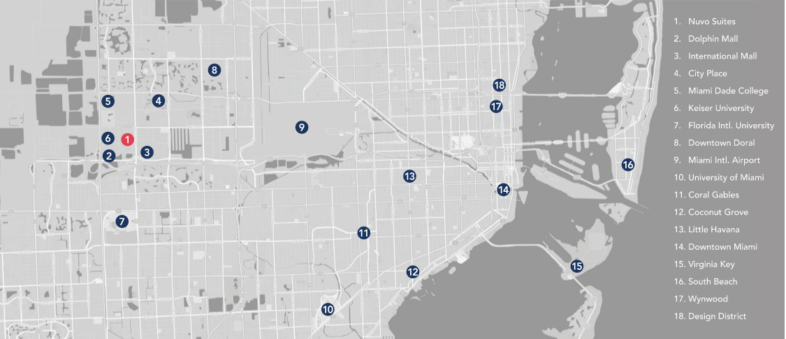 Map of Miami with important locations marked