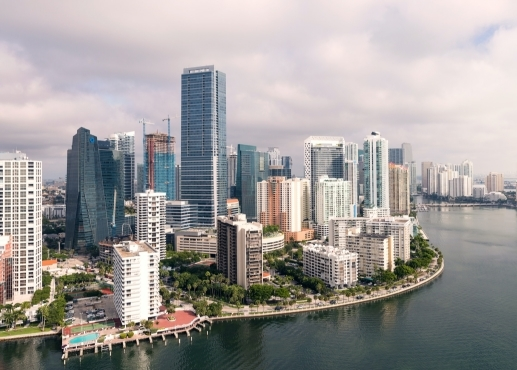 Aerial view of downtown Miami and the ocean coastline